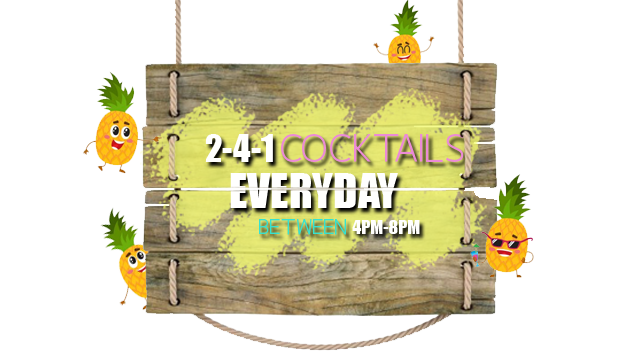 2-4-1 cocktails sign
